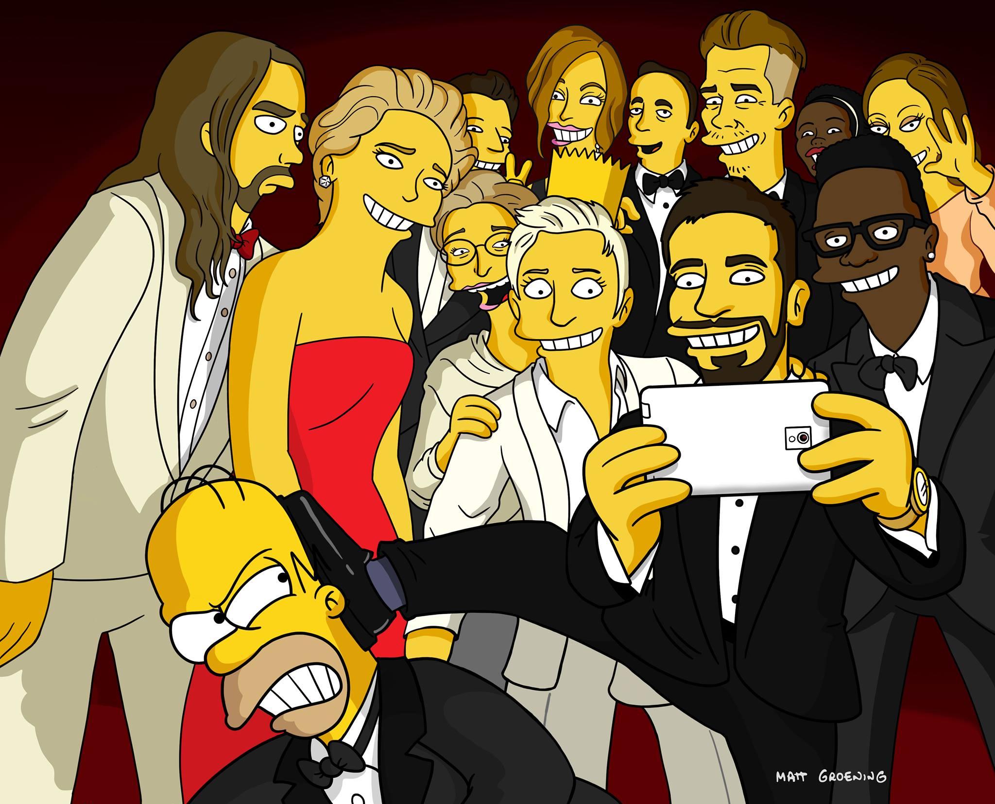 Selfie Oscar 2014 Simpsons