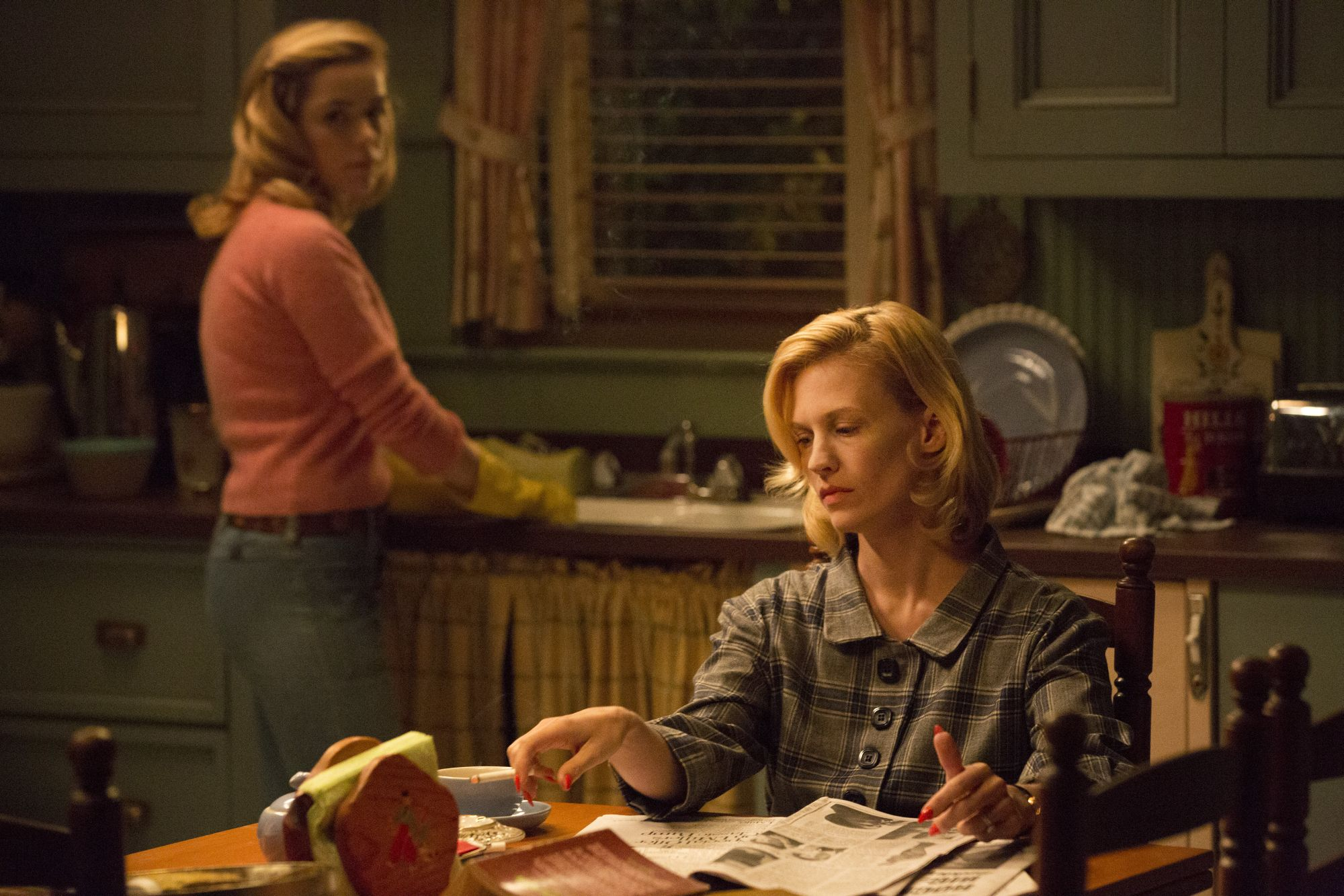 Kiernan Shipka as Sally Draper and January Jones as Betty Francis - Mad Men _ Season 7B, Episode 14 - Photo Credit: Michael Yarish/AMC